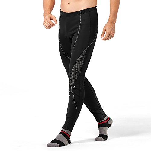 4ucycling Men's Black Silicone Gel Padded Compression Tights