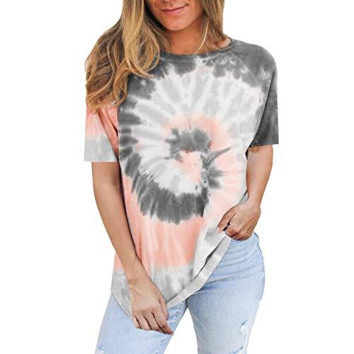 ThsiJJ Womens Fashion Tie-dye Printed Short Sleeve O-Neck Casual Tops T-Shirt Blouse Women's Plus Size T-Shirt Top Gray