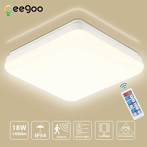 Oeegoo LED Deckenlampe mit Bewegungsmelder, 18W 1400Lm Deckenleuchte mit Fernbedienung, IP54 Wasserdicht Badlampe, Einstellbare Sensorleuchte für Flur, Garage, Keller, Lager Neutralweiß 4000K