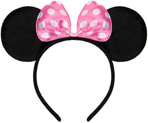 Balinco Haarreifen in schwarz mit Maus Ohren Mouse mit Schleife in rosa mit weißen Punkten für Kinder & Erwachsene