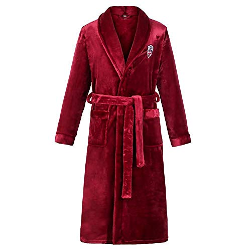 HINGT Otoño e Invierno, Bata Gruesa, Kimono para Hombre, Bata de baño, Pijama, Franela cálida, Servicio a Domicilio