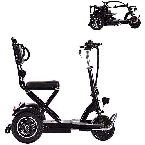 Klappbarer Mobilitätsroller, 3-Rad-Elektrorollstuhl-Mobilitätsroller für Erwachsene und Senioren, Leichter tragbarer, kompakter, kostenpflichtiger Reise-Elektroroller, Schwarz, 35 km