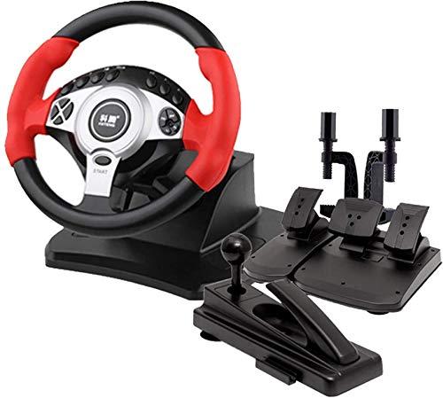 QDY Simulador de conducción de PC, Volante USB para Juegos de Coche, Freno de Mano + Pedal de Embrague Ángulo Ajustable, PC/portátil Compatible, Rojo