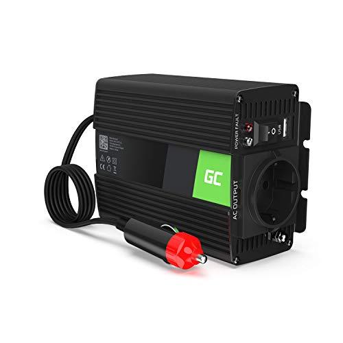 Green Cell® 150W/300W 12V a 220V/230V Onda sinusoidal modificada Inversor de Corriente DC AC Power Inverter Transformador de Voltaje para Coche Camion con Puerto USB y Pinzas de conexión a batería