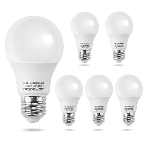 Aigostar - Lampadina LED E27 6W, Luce Bianca Fredda 6400K, 510 lm, Angolo del Fascio di 280 Gradi, Non Dimmerabili, Confezione da 5.