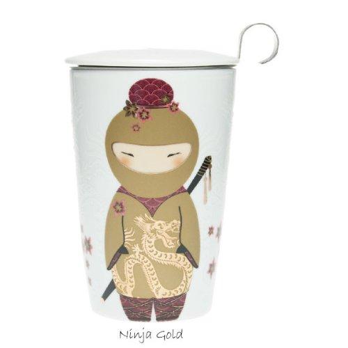 Teaeve EVE Doppelwandige Tasse mit Teesieb, Ninja Gold, Porzellan