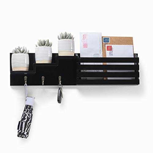 Sedura Mail Holder Wall Mount Sorter Organizer, with 3 Key Hooks, Letter & Newspaper Storage, Ornament Home Decorative Floating Shelf, for Entryway, Mudroom, Livingroom, Kitchen, Hallway, (Black)
