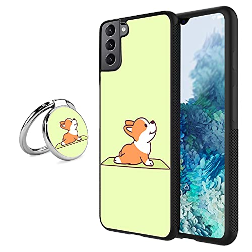 Case for Samsung Galaxy S21 Plus with Ring Frame,Corgi Yoga Design Shockproof Non-Slip Durable TPU Soft Material,Cover Case for Samsung Galaxy S21 Plus