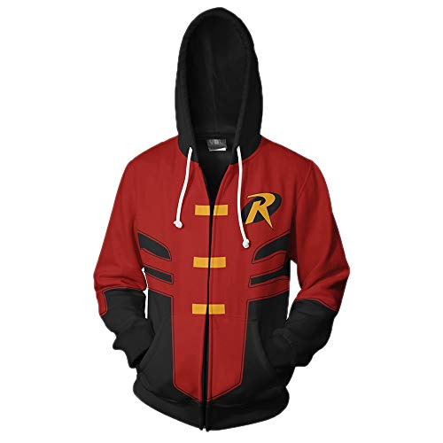 Xinxin Robin Tim Drake 3D Anime Cosplay Cardigan Zip Hoodie