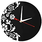 black and white modern floral round wall clock