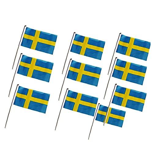 Oficina miniatura Escritorio y poca mano de mesa que agita banderas 10pcs de la bandera de Suecia (14 * 21 cm), agitando la mano Banderas