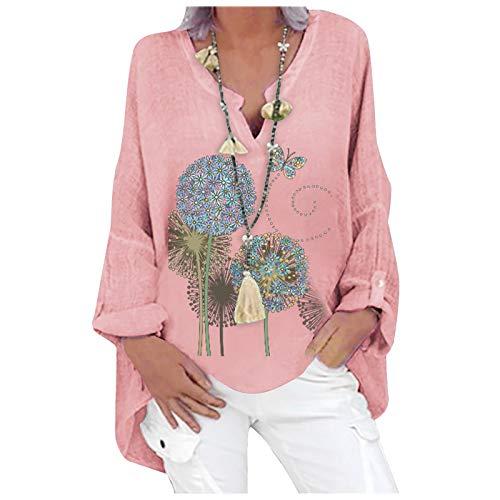 Blusas y Camisas de Manga Larga para Mujer con Cuello en V, 2021 Moda Casual Camiseta de Lino de Gran Tamaño Sudadera Verano Camisa con Estampado de Girasol Túnica Tops Largos Sueltos(B Rosa,3XL)
