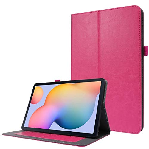 fire bird simple and practical For Samsung Galaxy Tab S7 T870 2-Folding Business Horizontal Flip PU Leather Case with Card Slots & Holder (Color : Rose Red)