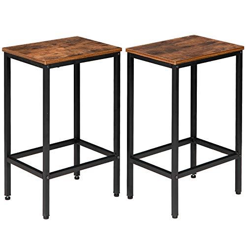 IBUYKE Barhocker 2er Set, Barstühle, Küchenstühle im Industrie-Design, mit Fußstütze, für Küche, Wohnzimmer, Partykeller, Vintage, Dunkelbraun TMJ051H