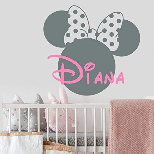 Ratón creativo pegatinas de pared decoración de la habitación de los niños personalidad nombre de la niña tatuajes de pared dormitorio de jardín de infantes mural de arte decorativo
