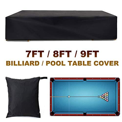 Copertura per Biliardo, 7/8/9 Piedi Tessuto Oxford Impermeabile Biliardo/Snooker Copertura Protettiva, Copertura da Mobili da Giardino Nera, con Sacchetto (Size : 9FT:287x155x82cm)