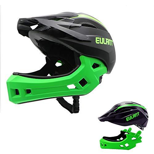 EULANT Aktualisierter Fullface-Helm für Kinder, Kinderhelm mit Kinnschutz, Fahrradhelm für Mädchen und Jungen im Alter von 2-10 Jahren, passt Kopfgröße 48-56,Schwarz/Grün M