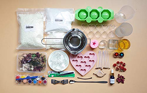 Complete DIY Candle Making Kit Supplies - Easily Create Different Shapes Scented Candles,Gift Set for Beginners Starter Includes Soy Wax, Fragrance,Wax Melting Pot,Wicks,Glass Cup,Candlemakers Guide