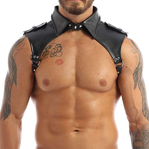 YiZYiF Men's Adjustable Leather Body Chest Harness Belt Clubwear with Fancy Buckles Epaulet Shoulders One Size