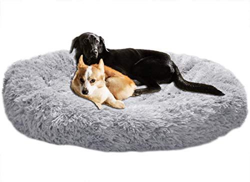LINRUI Orthopädisches Hundebett XXL Hundesofa für Mittlere große Grosse Hunde Labrador Flauschig Oval Hundekissen Hoch Memory Foam,Rund Kuschelig Hundehöhle,Waschbares,Antistress,Abwaschbar Grau