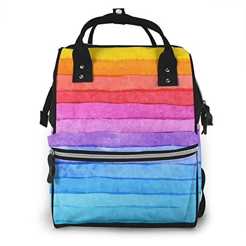 nbvncvbnbv Bolsa de pañales de colores arco iris Multifunción Mochila de viaje impermeable Mochila Bolsas de pañales para el cuidado del bebé Gran capacidad Elegante y duradera
