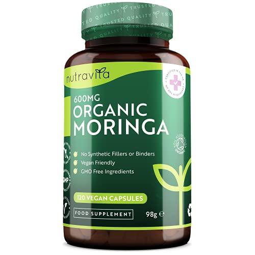 Moringa Bio Gelules 600 mg par capsule - Supplément de feuilles de Moringa Oleifera - 120 Gélules Vegan (un par jour) - Approvisionnement de 4 mois - Fabriqué par Nutravita