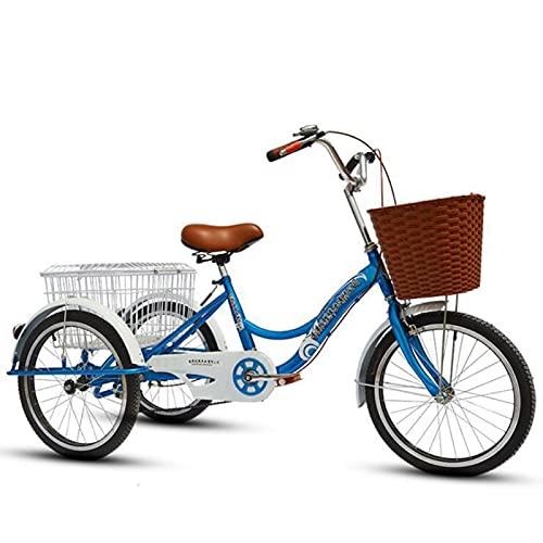 Crucero De Adultos De 20 Pulgadas Triciclo,de Tipo Pedal De Ancianos Bicicleta De 3 Ruedas Con Cesta,adulto De Una Sola Velocidad Antideslizante Pedal De La Bicicleta,para Ir De Compras Y El Ejercic