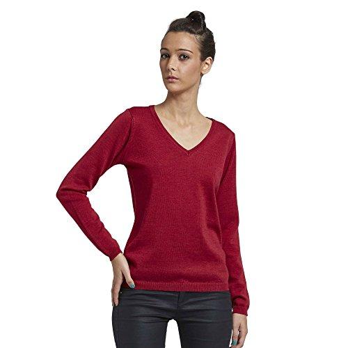 Brunella Gori Pullover Maglione Maglia Scollo a V Donna in 100% Extrafine Merino - 100% Extrafine Merino Color Rosso Taglia M