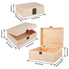 ADXCO 3 Pack Unfinished Wood Treasure Chest Decorative Wooden Box Pine Wood Box with Locking Clasp for Crafts, Art, Hobbies, Projects, Jewelry Box and Home Storage #1