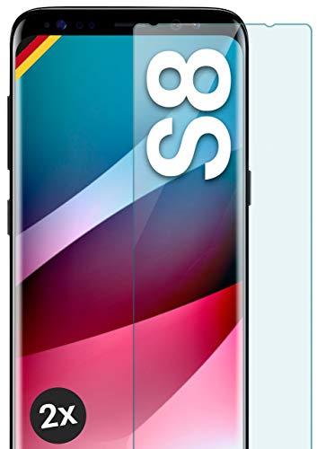 moex Panzerglas kompatibel mit Samsung Galaxy S8 - Schutzfolie aus Glas, bruchsichere Displayschutz Folie, Crystal Clear Panzerglasfolie, 2X Stück