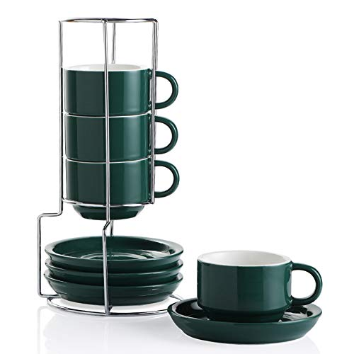 SWEEJAR Porcelain Espresso Cups with Saucers, 4 Ounce Stackable Cappuccino Cups with Metal Stand for Coffee Drinks, Latte, Tea - Set of 4 (Jade)