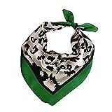 Las mujeres pañuelos de gasa estampado de animales del leopardo del cuello del abrigo bufanda escarpada multifunción bufanda de la seda pequeña plaza Wraps Chales satén (leopardo verde Edge)