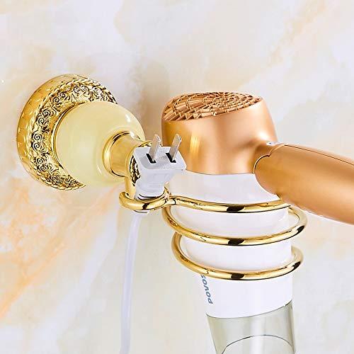 Hancoc Soporte de pared para secador de pelo, organizador clásico para secador de pelo, con organizador de cables, de acero inoxidable para baño (color: verde)