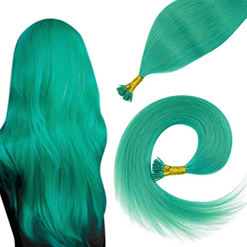 Easyouth 100% Human Remy Hair Colored Teal Stick Hair Extensions 22' I Tip Fusion Hair Extensions Pre Bonded Silky Straight Human Hair 40gram