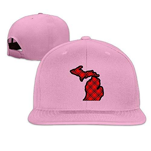 AOHOT Herren Damen Baseball Caps,Hüte, Mützen, Classic Baseball Cap, Red & Black Plaid Michigan Map Washed Unisex Flat Bill Visor Hip-Hop Hat