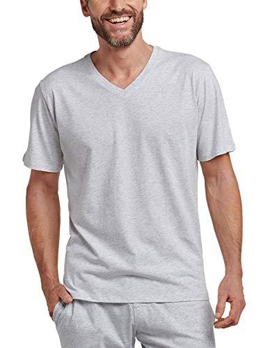 Schiesser Herren Mix & Relax T-Shirt V-Ausschnitt Schlafanzugoberteil, Grau (Grau-Mel. 202), 52