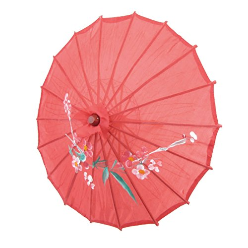 TOOGOO Parasol Paraguas Oriental Chino 21 pulgada Diametro bambu tela roja impresion de flor