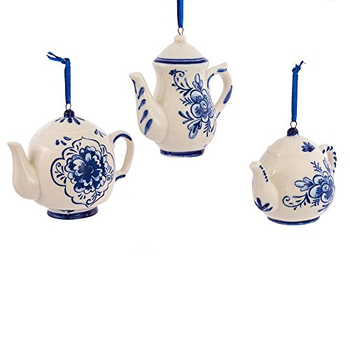 Kurt Adler 2-3' Porcelain Delft Blue Teapot Ornament Set of 3