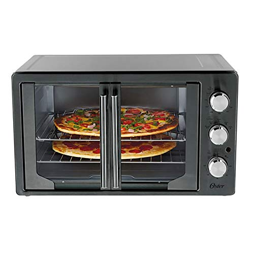 Oster 31160840 Extra Large Single Door Pull French Door Turbo Convection Toaster Oven with 2 Removable Baking Racks, Metallic and Charcoal