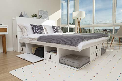 Memomad Lit Fonctionnel Bali 180x200 + Tête de Lit 205cm en Blanc - Lit avec Beaucoup de Rangement - Le Prix Comprend Le sommier à Lattes et la tête de lit Fonctionnelle