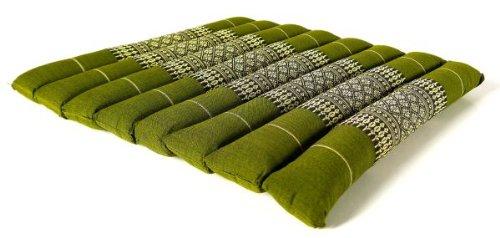 livasia Kapok Sitzkissen 35x35x4cm, Stuhlauflage, Steppkissen, Meditationskissen, Stuhlkissen (grün)