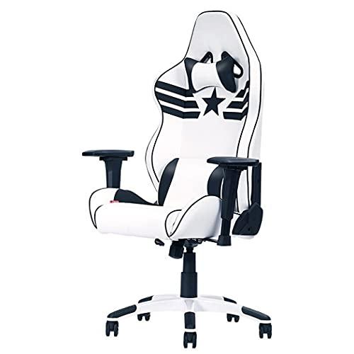 huasa Gaming Stuhl Bürostuhl,Gamer Ergonomischer Stuhl,Atmungsaktivem Weichen Stoff,Gepolsterten Nackenkissen,Lendenstütze aus Memory-Schaumstoff drehbar ergonomisch,90-172°Neigungswinkel,White