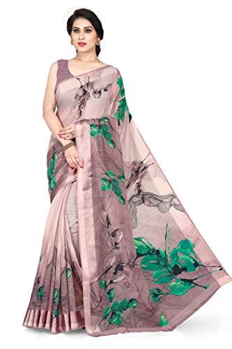 Mirchi Fashion Sari für Damen, Baumwolle, abstrakter Druck, ungenäht, Blusenteil Gr. One size, wein