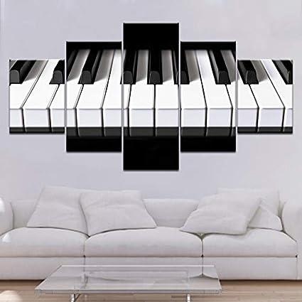 aicedu Imagenes Enmarcadas 5 Piezas Lienzo Teclas De Piano De ...