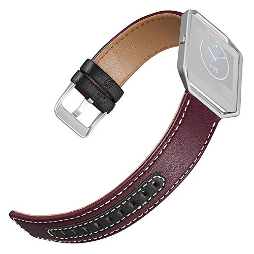 WUTONG Leather Two Colours Weave Watch Band Wrist Strap with Frame for Fitbit Blaze smart watch strap (Color : B)