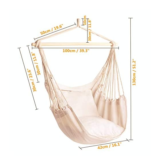 Cctro Hanging Rope Hammock Chair Swing Seat Large Brazilian Hammock Net Chair Porch Chair For Yard Bedroom Patio Mk Library