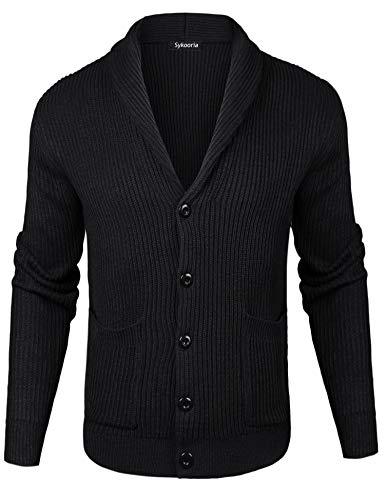 Sykooria Cardigan Hombres Otoño Invierno Cálido Chaleco de Algodón Casual Button Down Suéter de Punto Hombres Casual Fashion Pullover Slim Fit Sweatshirt