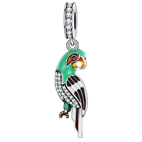 Edler Papagei Charm Anhänger mit Emaille für Pandora 925 Sterling Silber