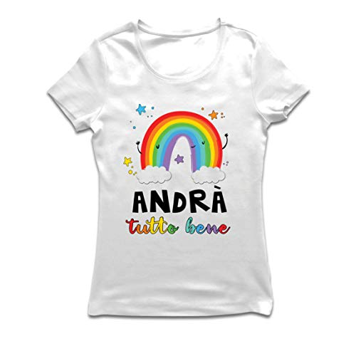 lepni.me Maglietta Donna Andrà Tutto Bene Arcobaleno di Speranza Quarantena e Relax (Small Bianco Multicolore)