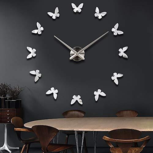 Asvert Orologio da Parete Silenzioso Adesivo Orologio Parete Grande 3D DIY Preciso Fai da Te 60-120 cm Facile da Montare (Farfalla d'Argento)